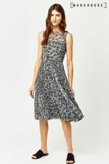 Warehouse Green Printed Pleated Midi Dress