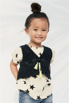Star Print Blouse And Knitted Waistcoat Set (3mths-6yrs)