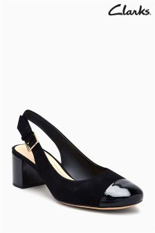 Czarne buty na obcasie z noskiem Clarks Orabella