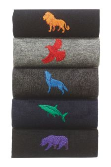 Animal Embroidered Socks Five Pack