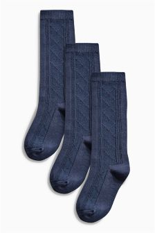 Patterned Knee High Socks Three Pack (Older Girls)