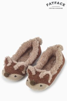 Fat Face Tan Felicity Fox Ballerina Slippers