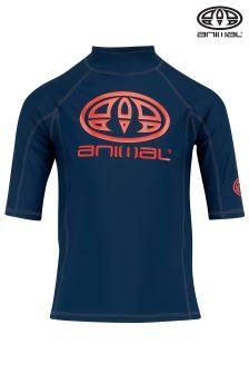 Animal Hiltern Navy Blue Short Sleeve UPF50+ Rash Vest