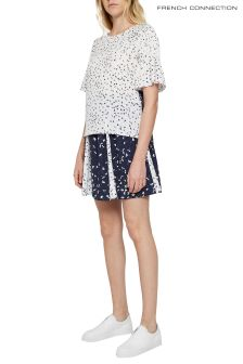 French Connection Blue And White Drape Flaired Mini Skirt