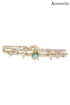 Accessorize Green Jangle Leaf Clasp Bracelet