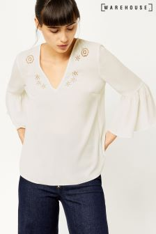 Warehouse Cream Cutwork Top