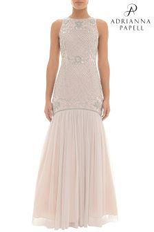 Adrianna Papell Pink Beaded Trumpet Dress