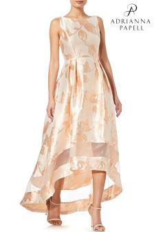 Оранжевое жаккардовое платье асимметричного кроя Adrianna Papell