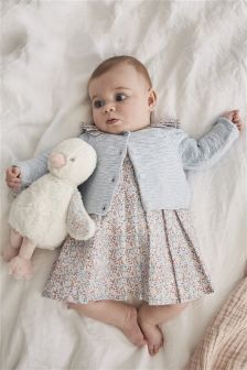 Schickes Kleid mit Print und Cardigan im Set (0 Monate bis 2 Jahre)