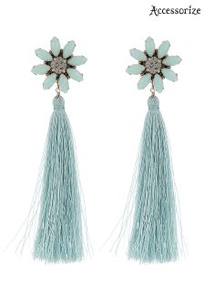 Accessorize Green Statement Flower Tassel Earring