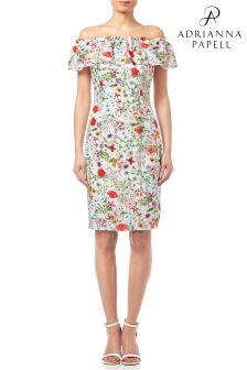 Adrianna Papell Ivory Multi Bloom Printed Off Shoulder Dress