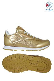 Reebok Metallic Brass White Classic Leather Trainer