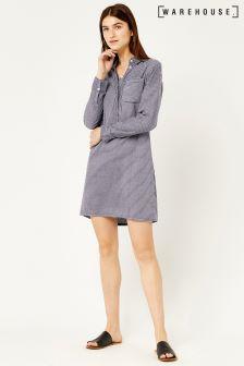 Warehouse Blue Stripe Shirt Dress