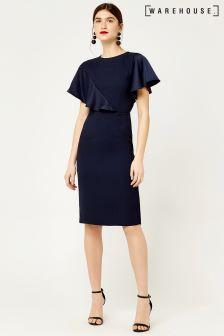 Warehouse Navy Satin And Crepe Mix Dress