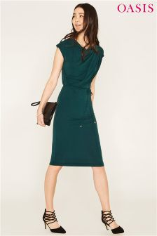 Oasis Green Flower Press Embroidered Cuff Knit Dress