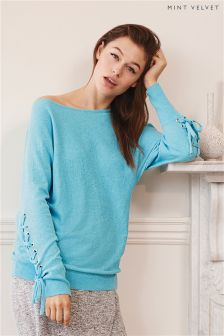 Mint Velvet Blue Lace-Up Sleeve Batwing Knit Sweater