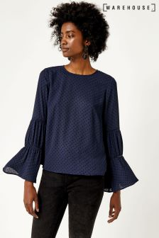 Warehouse Navy Dobby Lace Insert Top