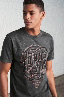 Acid Wash Printed T-Shirt