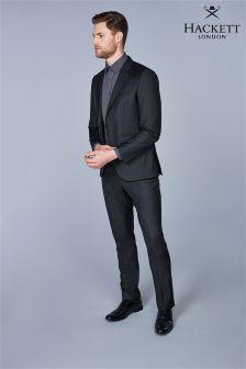 Hackett Black Plain Wool Twill Trouser
