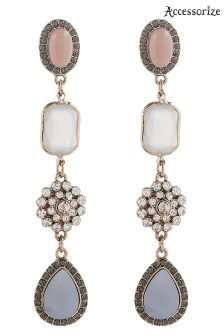 Accessorize Blue Anabel Gem Statement Earrings