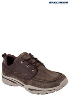 Skechers® Brown Canvas Lace-Up With Air Cooled Memory Foam