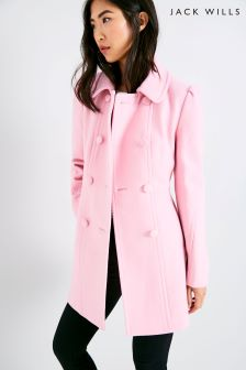 Jack Wills Bessemer Pink Button Coat
