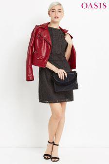 Oasis Grey Kick Sleeve Lace Dress
