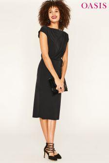 Czarna, drapowana sukienka kolumnowa Oasis