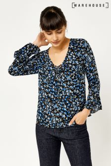 Warehouse Black And Blue Mini Marigold Top
