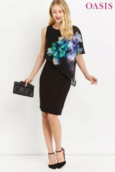 Czarna sukienka średniej długości z szyfonem i motywem baśniowym Oasis