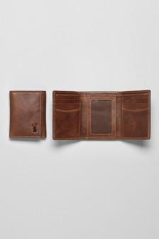 Кожаный бумажник тройного сложения с тиснением оленя
