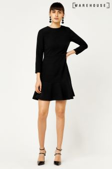 Warehouse Black Peplum Hem Long Sleeve Dress