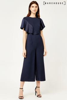 Warehouse Navy Satin And Crepe Mix Jumpsuit