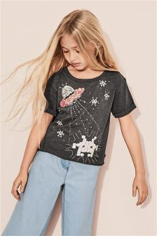 Sequinned Graphic Short Sleeve Boxy T-Shirt (3-16yrs)