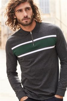 Long Sleeve Chest Stripe Zip Neck Polo