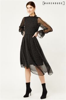 Warehouse Black Devoure Spot Midi Dress