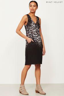 Mint Velvet Black Ellen Print Cocoon Dress