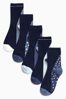 Pattern Foot bed Ankle Socks Five Pack