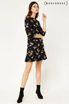 Warehouse Black Molly Floral Ponte Dress
