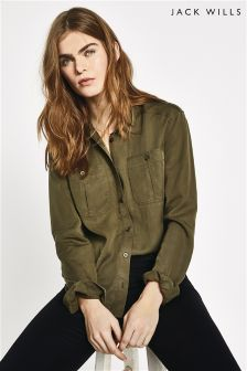 Jack Wills Olive Raleigh Utility Shirt