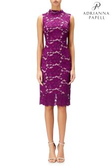 Adrianna Papell Pink Twin Flower Lace Mock Neck Sheath Dress