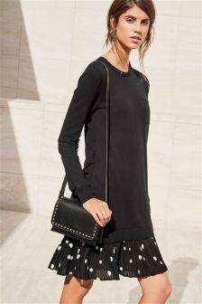 Pulloverkleid mit Webstoffsaum
