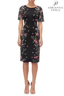 Adrianna Papell Black Printed Sheath Dress
