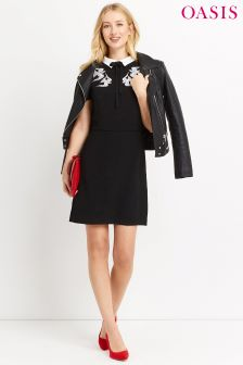 Oasis Black Embroidered Bird And Lace Shift Dress
