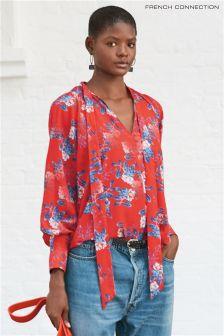Czerwona bluzka z wiązaniem przy szyi, z lekkiej krepy French Connection Kioa