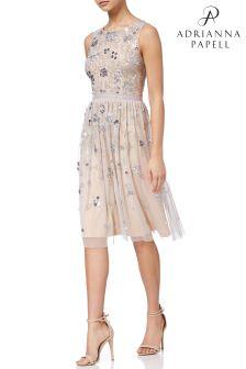 Короткое телесное платье с бисером Adrianna Papell