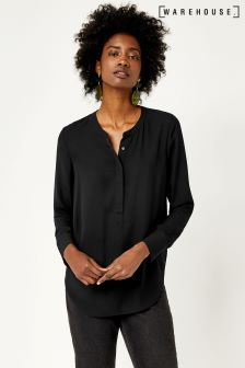Warehouse Black Long Sleeve Button Side Blouse