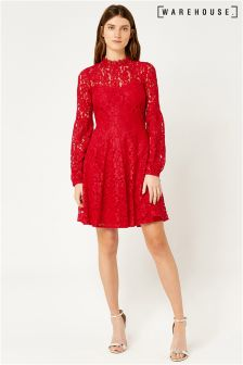 Warehouse Red Lace Skater Dress