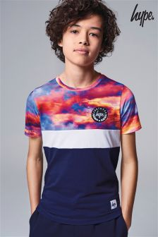Hype. Cyan Drops Printed Panelled T-Shirt