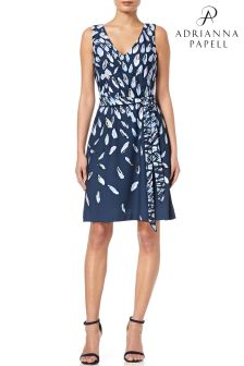 Adrianna Papell Blue Print Knit Fit And Flare Dress